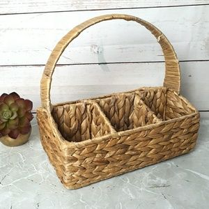 Woven Wicker Caddy Basket 6 Compartments